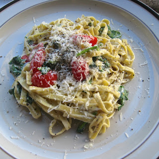 Linguine with Goat Cheese, Spinach and Grape Tomatoes.
