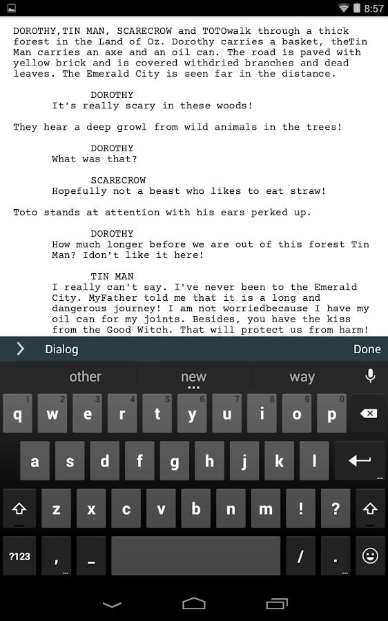 Celtx Script - screenshot
