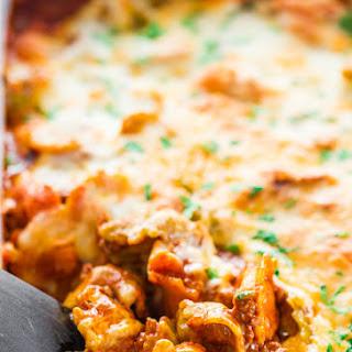 Cheesy Beef Tortellini Enchilada Casserole.
