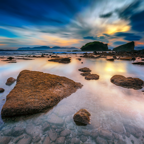 Morning Glory by Rio Tanusudiro - Landscapes Beaches ( clouds, coral, le, rock, travel, beach, sunrise, morning, light )