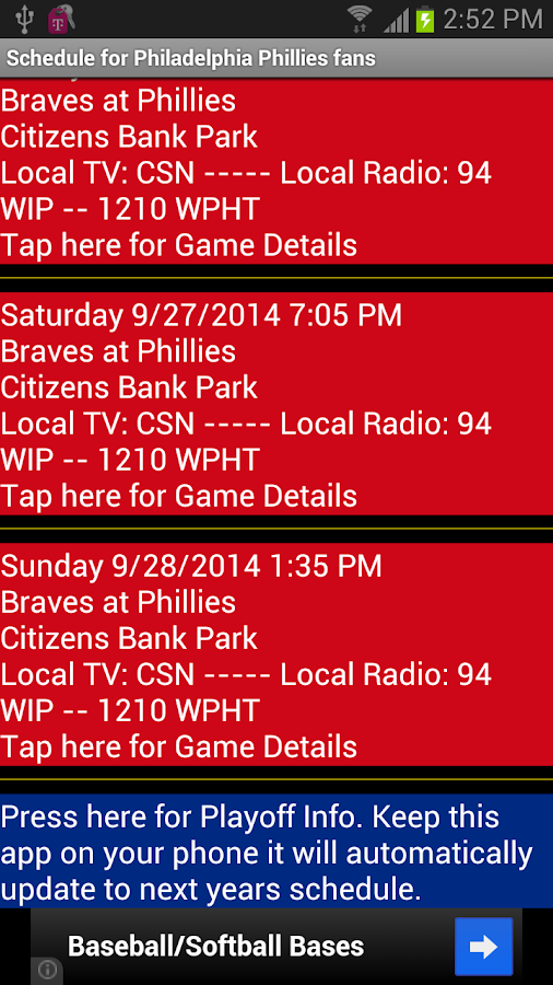 Schedule Philadelphia Phillies - screenshot