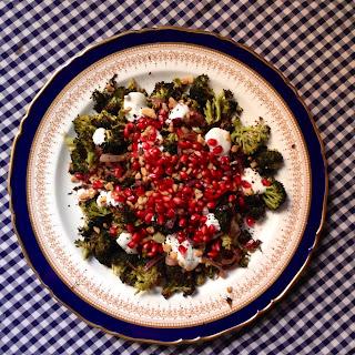 Roast Broccoli Salad with Pomegranates, Walnuts, and Creamy Dressing