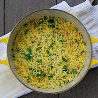 Baked Saffron Rice with Pine Nuts & Parsley.
