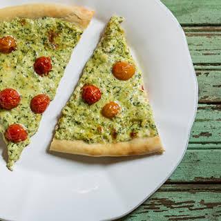 Arugula Pesto, Ricotta, and Smoked Mozzarella Pizza.