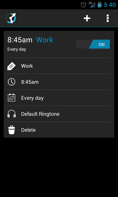 CircleAlarm (Holo Alarm Clock) - screenshot
