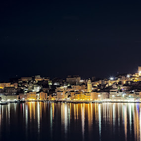 Gaeta by night by Giuseppe Ciaramaglia - Landscapes Waterscapes ( gaeta, nigth, sea, castle, light )