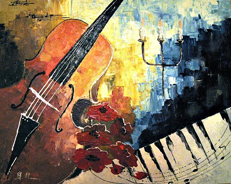 Jazz by Amas Art - Painting All Painting ( music, piano, jazz, flowers )