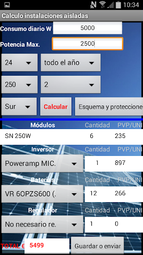 Solemesl. Calculo inst. PV.