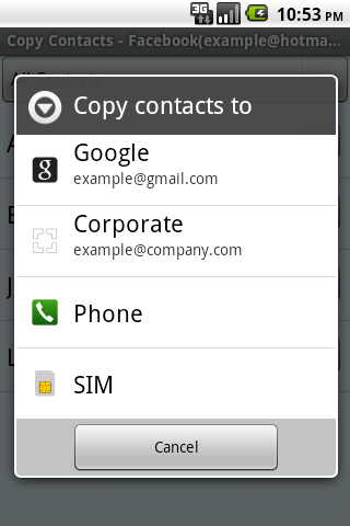 Copy Contacts - screenshot