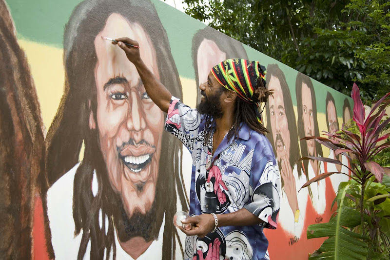 At the Bob Marley Museum, 56 Hope Road, Kingston, Jamaica. The music legend used to reside there, mon.