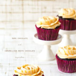 Dark Chocolate and Caramelized White Chocolate Cupcakes.