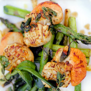 Pan-Seared Scallops with Asparagus and Baby Leeks.