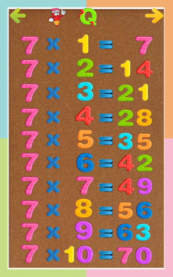 Printables Tables Maths 7 8 9 kids multiplication tables android apps on google play screenshot