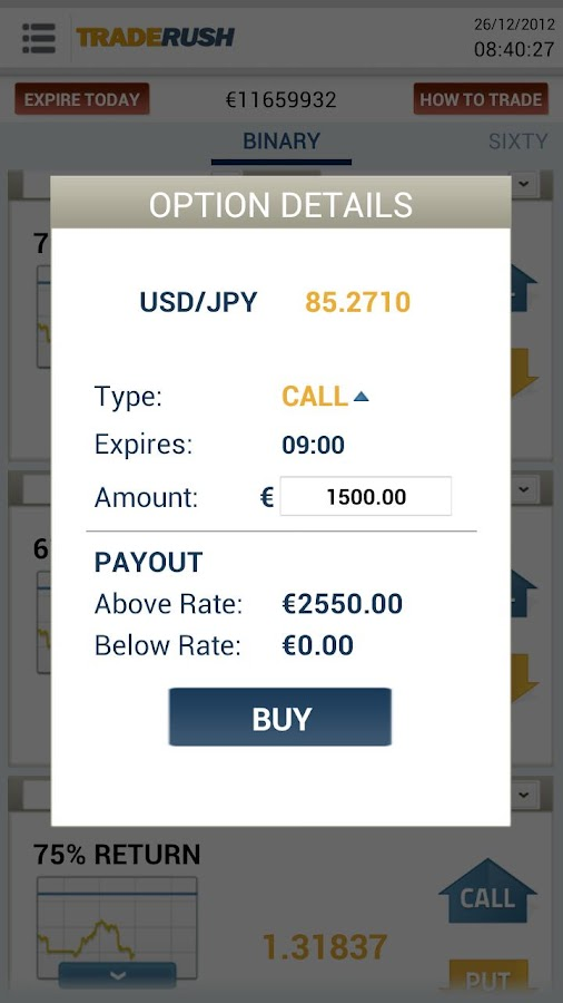 TRADERUSH Binary Options - screenshot