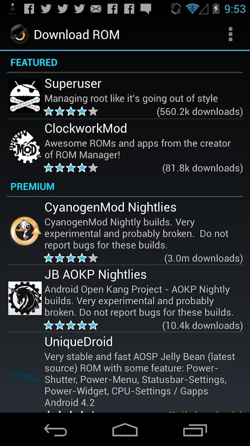 ROM Manager (Premium)- screenshot