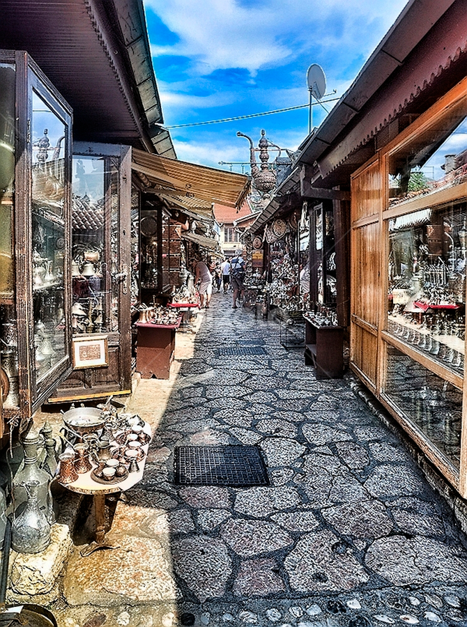Old shop street by Igor Vasiljevic - City,  Street & Park  Markets & Shops ( old, bosna i hercegovina, d90, street, sarajevo, nikon )