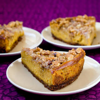 Pumpkin Cheesecake With Pecan Crunch Topping.