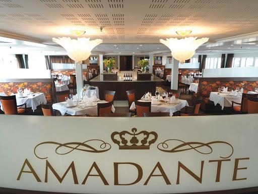 AmaDante-Restaurant - Enjoy the regional cuisine served throughout your European cruise aboard AmaDante.