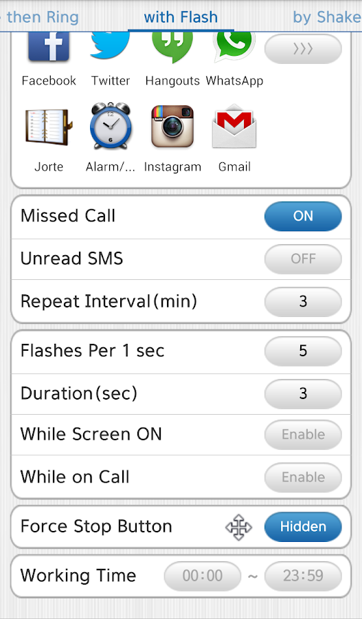 Vibrate then Ring with Flash +- screenshot