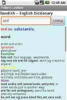 Screenshot of Folkets Lexikon