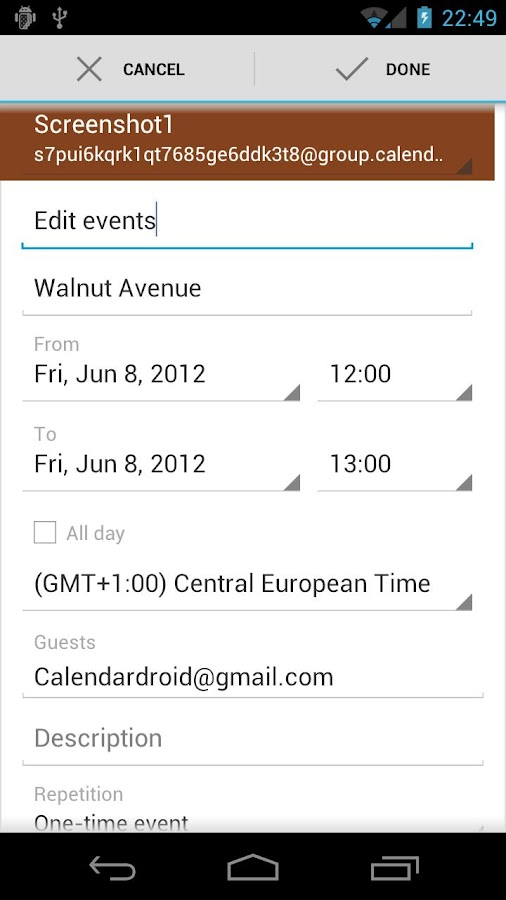 Calendar Droid - screenshot