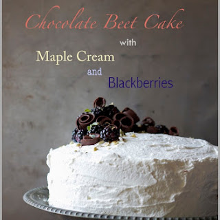 Dark Chocolate Beet Cake with Maple Cream and Fresh Blackberries