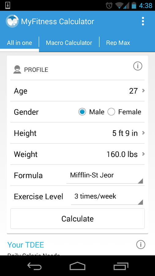 MyFitness Calculator BMI IIFYM- screenshot