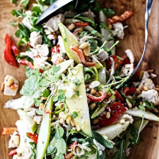 Warm Chicken Salad with Peppers, Pears & Toasted Pinenuts