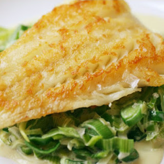 Crispy Cod Cooked 'Unilaterally' with Creamed Leeks.
