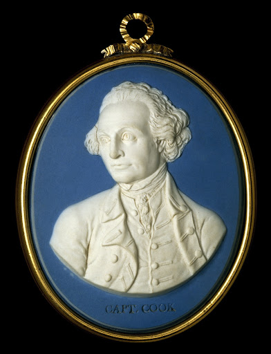 Jasperware medallion of Captain James Cook, by Josiah Wedgwood and Thomas Bentley