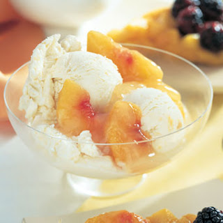 Peach Custard Ice Cream with Fresh Peach Compote.