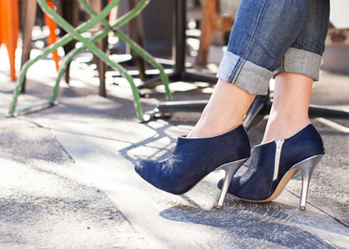 Blue hair and shiny silver ankle boots