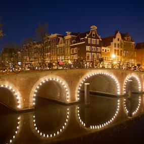 Amsterdam reflecting Bridge  by Benjamin Arthur - City,  Street & Park  Historic Districts ( holland, amsterdam, bridge, canal, nl, netherlands )