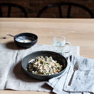 Barley + Chickpea Salad With Spinach, Purple Cabbage + An Almond Sesame Miso Dressing