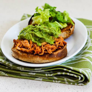 Slow Cooker Recipe for Sriracha-Pineapple Barbecued Chicken Sandwiches with Easy Guacamole.