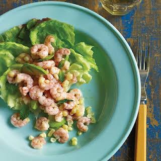 Shrimp and Corn Salad in Bibb Lettuce Cups.