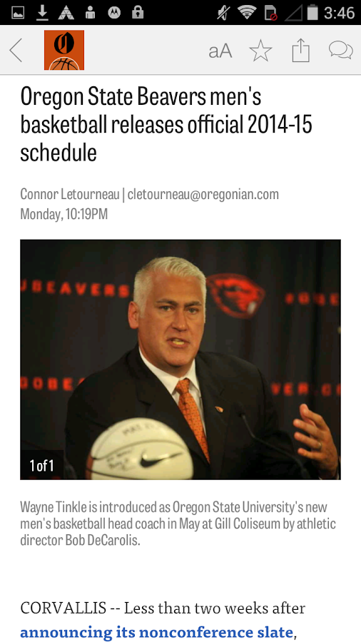 OregonLive: OSU Hoops News - screenshot