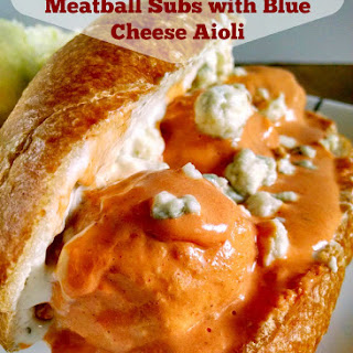 Slow Cooker Buffalo Chicken Meatball Sliders with Blue Cheese Aioli