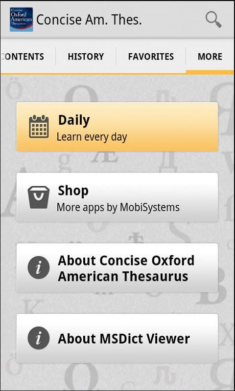 Concise Oxford American Thesau - screenshot