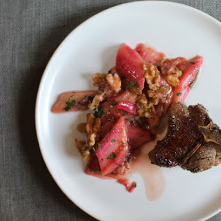 Pan-Seared Lamb Chops with Rhurbarb Agrodolce with Raisins, Parsley + Walnuts