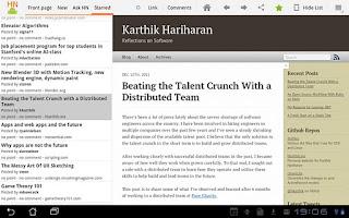 Screenshot of HackerNews HD+ for tablets
