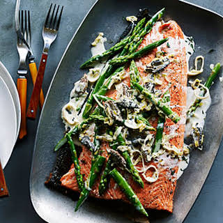 Grilled King Salmon with Asparagus, Morels, and Leeks.