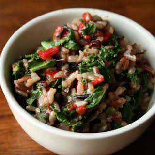 Brown + Wild Rice Salad with Kale + Piquillo Peppers.