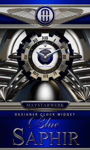 Clock Widget Blue Saphir