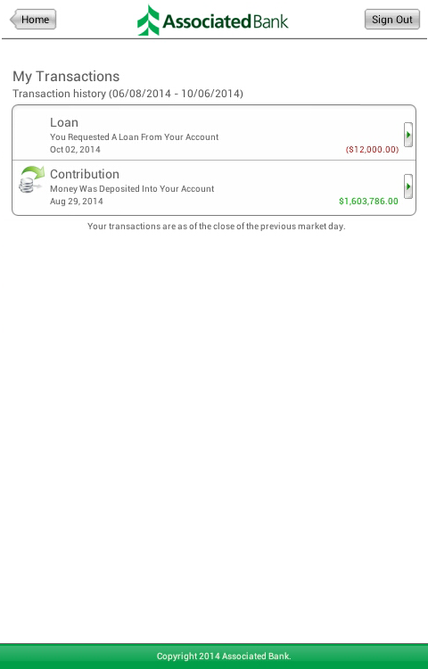 Associated Retirement Account- screenshot