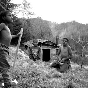 Kings of the Mountain by Christopher Charlton - Babies & Children Child Portraits ( black and white, children, culture )