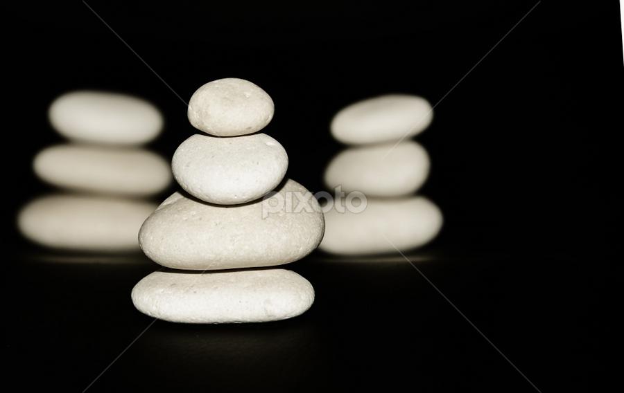 Zen by Cristina Ciobanu - Artistic Objects Still Life ( black and white, silence, zen, stone, quiet )