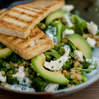 Spiced Tofu with Broccoli and Blue Cheese Salad.
