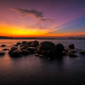 Rocky beach by GokulaGiridaran Mahalingam - Landscapes Beaches ( clouds, beaches, punggol beach, sea, beach, seascape, glow, landscape, beautiful beaches, rocks, dusk )
