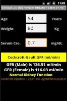 Screenshot of Clinical Lab ( Gault GFR )